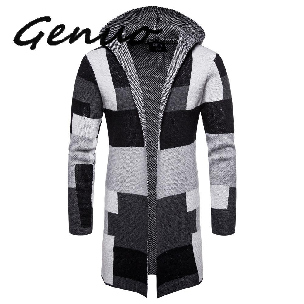 Men Striped Cardigan Coat Sweaters Hooded Cloak Long Windbreaker Cloak Coat Knitted Sweater Big Size 5XL Cardigans Outerwear