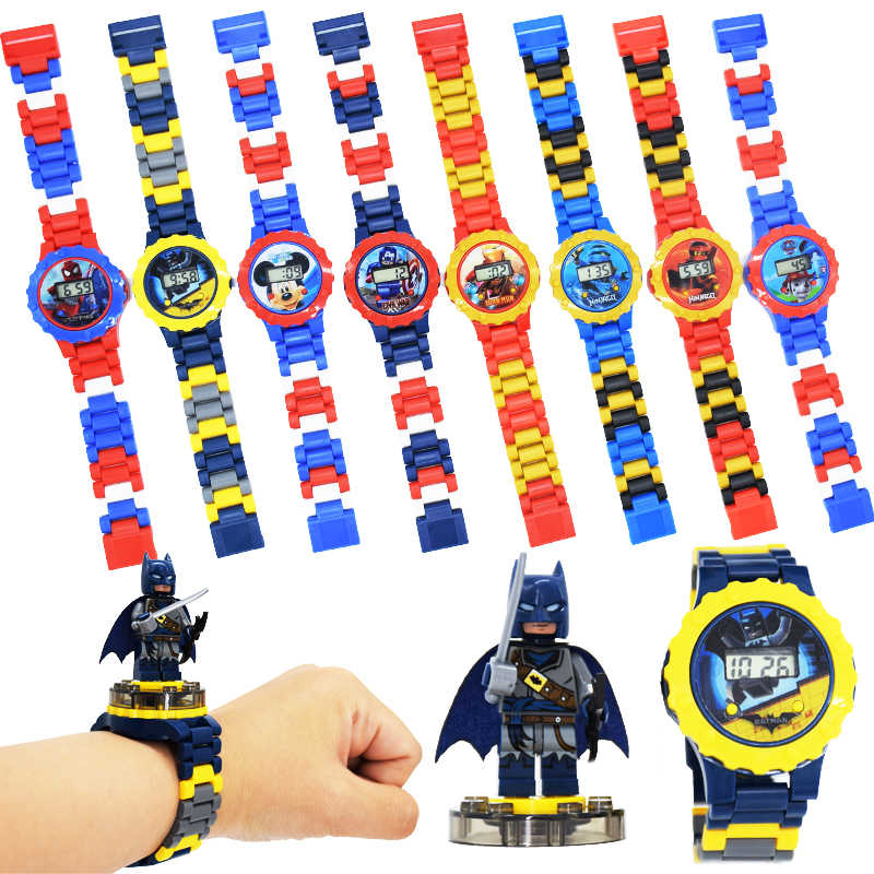 Relojes para niños, bloques de construcción, juguetes, reloj para niños Compatible con LegoINLY NinjagoINLY LegoINGS Duplo LegoINGL, juguete para MinecraftING