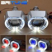 Lensler farlar melek şeytan gözler Mini LED H1 projektör 2.5 inç Bixenon mercek Tuning H7 H4 araba işıkları aksesuarları güçlendirme