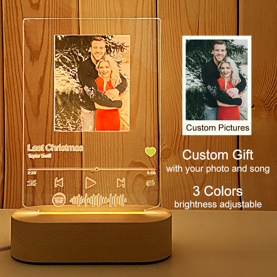 Customizable personalized photos & Favorite songs Album Cover Music Spotify Scan Play Acrylic Night Light For Christmas gift
