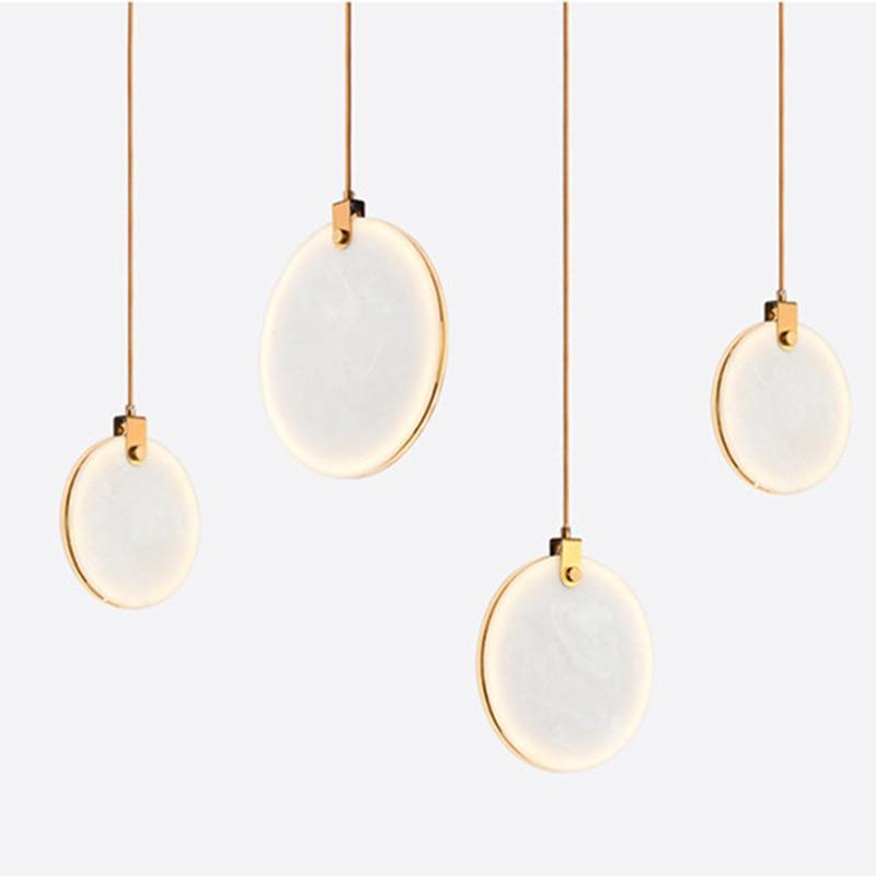 Natural Marble LED Pendant Lights Pipe/Cord Pendant Dining Room Light Bar Coffee Shop Pendant Lamp Indoor Hanglamp Loft Deco