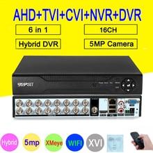 Detección facial XMeye Hi3531D H265 + 5MP 16 canales 16 canales 6 en 1, WIFI híbrido TVi CVI NVR AHD CCTV DVR, grabador de vídeo de vigilancia