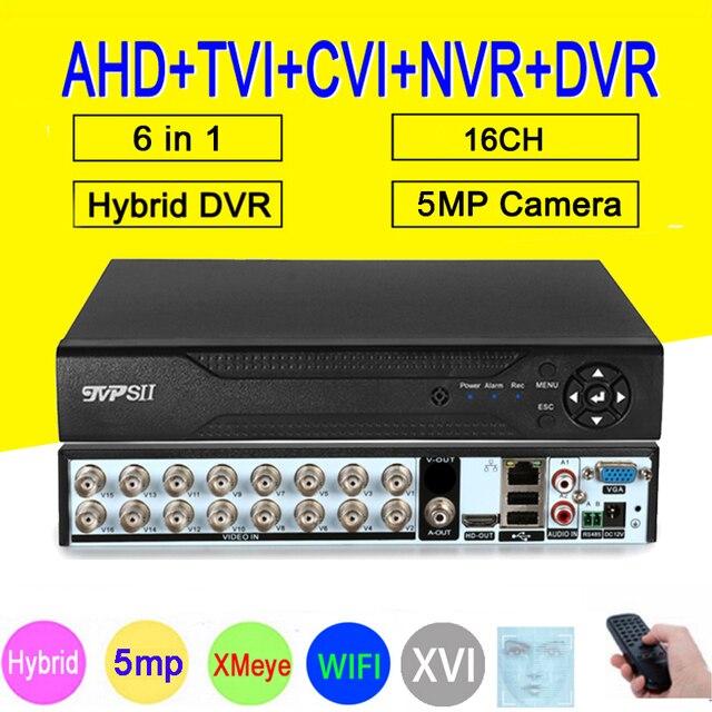 جهاز كشف الوجه XMeye Hi3531D H265 + 5MP 16CH 16 قناة 6 في 1 هجين واي فاي TVi CVI NVR AHD CCTV DVR جهاز تسجيل فيديو للمراقبة