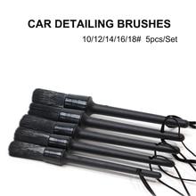 2021 New 5pcs/Set PP Hair Car Detailing Brush Black Brushes for Interior Cleaning Wheel Gap Rims Dashboard Air Vent Trim