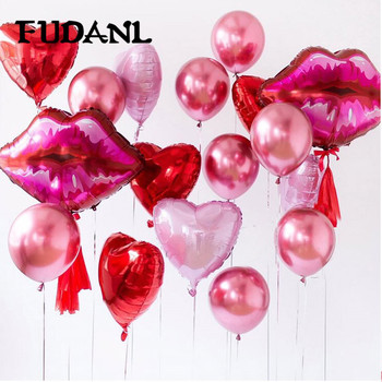 1Lot Large Red Lips Foil Balloon Lip Pink Heart Helium Balaos Wedding Valentine's Decoration Love Theme Party Couple Supplies image