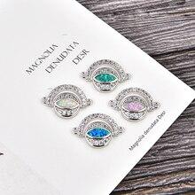 KAMAF NEW DIY Bracelet Accessories Blue Opal Zircon Crystal Evil Eye Charm women Bracelets Jewelry Making