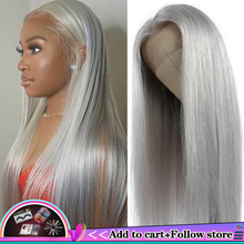 Brazilian 13x4 Lace Front Human Hair Wigs Straight Grey Lace Front Wig Pre Plucked Silver Gray Long Inch Remy Hair Wigs 150%