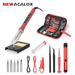 NEWACALOX-soldador eléctrico Digital LED, 110V/220V, 80W, 5 puntas de soldadura, herramienta de soldadura reguladora de temperatura, soldadura de hierro