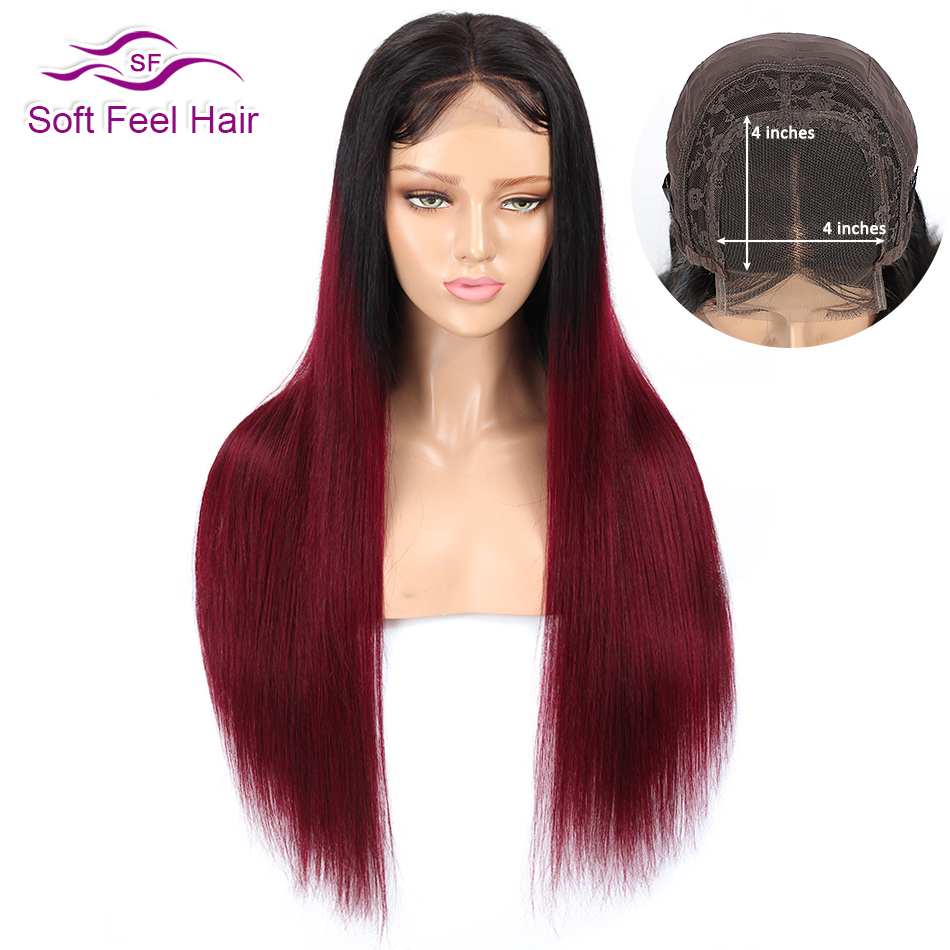 T1B/Burgundy 4x4 Lace Closure Wig Soft Feel Hair Ombre Lace Closure Human Hair Wigs For Black Women Remy Brazilian Straight Wig