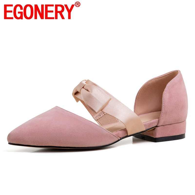 EGONERY doğal deri düz ayakkabı bahar sevimli kadın pembe siyah kayısı çocuk süet bale daireler sivri burun papyon kadın ayakkabısı