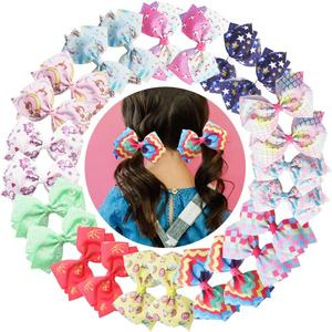 24PCS 4.5Inch Hair Bows Clips Rainbow Grosgrain Ribbon Bows Alligator Hair Clips Unicorn Hair Bows Hair Accessories for Girls(China)