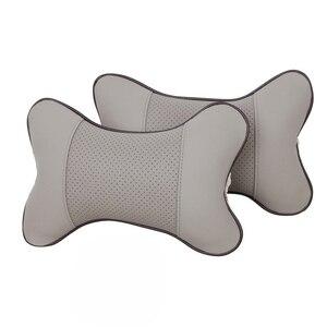 Image 5 - 1PC Mini PU cuir voiture cou oreillers universel voiture appui tête oreiller soutien cou oreiller noir/Beige/gris/marron pour Auto siège de voiture