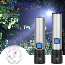 15000LM Flashlight USB Rechargeable Flashlight Waterproof Torch T6 LED Flashlight Portable Zoom Flashlight with Built-in Battery