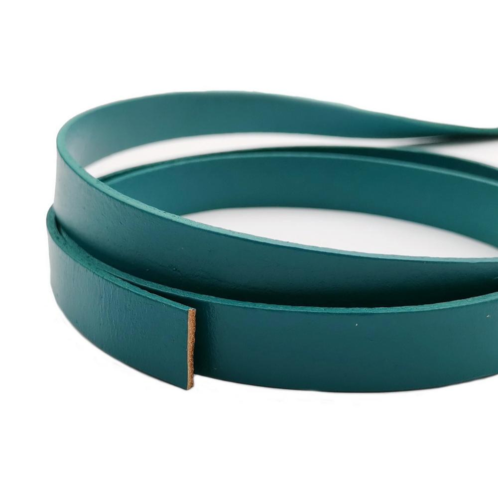 Aaazee 15mmx2mm Leather Band Teal 15mm Wide Flat Genuine Real Leather Strip For DIY Bracelet Jewelry Making 1 Yard