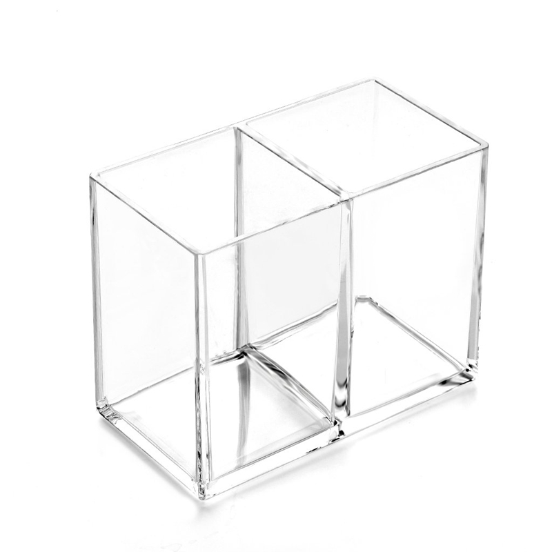 Clear Acrylic  Pencil Cup  Holder Case Desktop Stationery Organizer Compartments  1