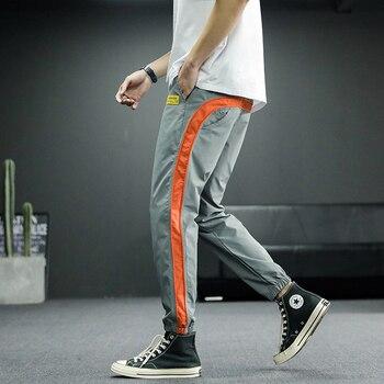 2020 New Hip Hop Joggers Cargo Pants Men Harem Pants Multi-Pocket Ribbons Man Sweatpants Streetwear Casual Mens Pants S-6XL - XXL, 2003grey red