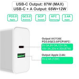 Image 3 - 2 พอร์ต 87W USB C Power Adapter,1 พอร์ตPD87W QC3.0 1 พอร์ตUSB 12W CHANGERสำหรับPro 8/X/11 Pro USB Cแล็ปท็อปS8/S10 เปลี่ยน