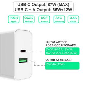 Image 3 - 2 port 87W USB C Power Adapter,1Port PD87W QC3.0 1port USB A 12W Wall Changer For Pro 8/X/11 Pro USB C Laptops S8/S10 Changing