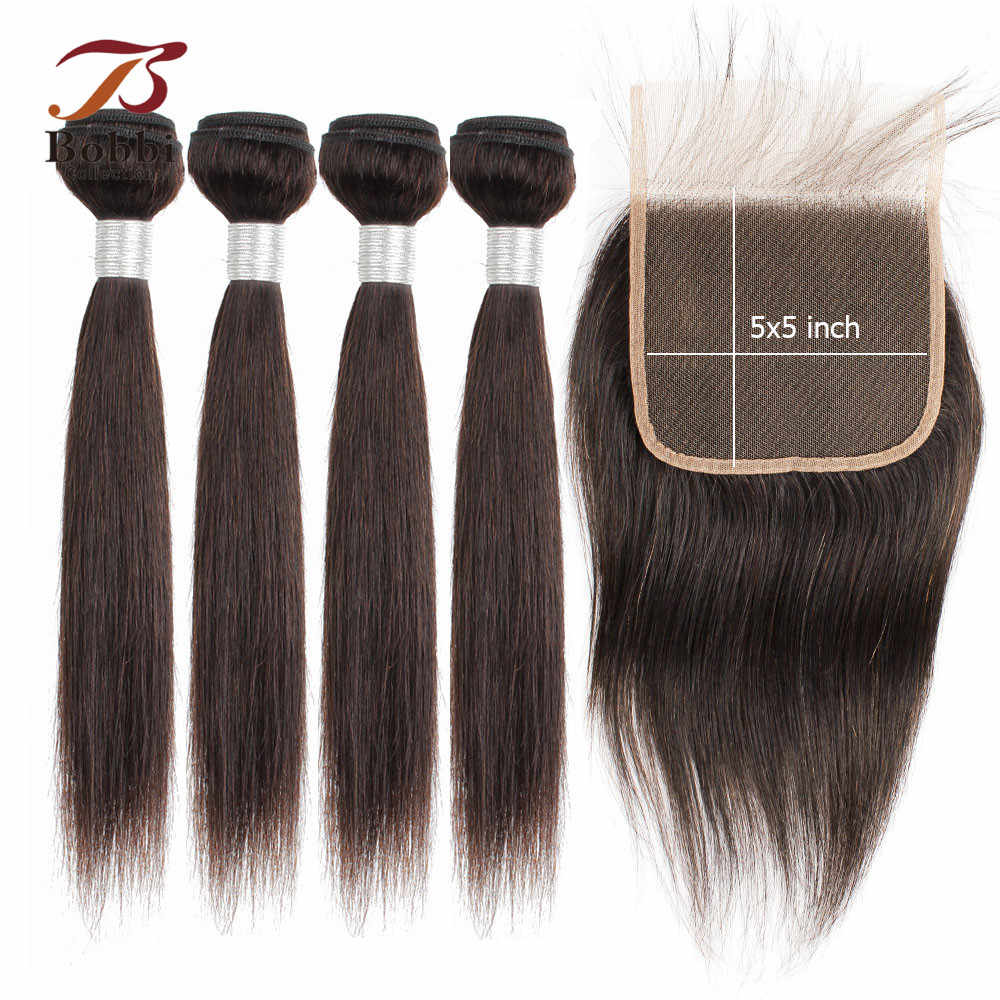 BOBBI COLLECTION 5x5 closure with bundles 50g/pc Indian Straight Hair 4x4 6x6 Lace Closure Non-Remy Human Hair Short Bob Style