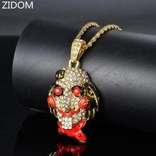 Mężczyźni Hip hop iced out 69 piła głowa lalki maska wisiorek naszyjniki mężczyzna Hiphop wisiorki naszyjnik z amuletem biżuteria luksusowe prezenty