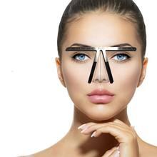 Plantilla de cejas permanente de 3 puntos, medida de Microblading, regla para tatuaje para mujer, herramientas de belleza, accesorios, pinza de cejas
