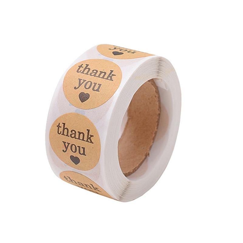 "Bulk Kraft Paper Heart /""Thank You/"" Adhesive Seal Sticker Label Envelope Decor"