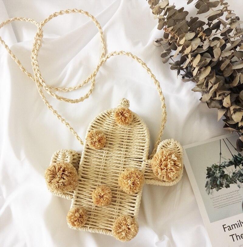 2020 new ratten beach bag cactus crossbody bag straw handbag summer flap with pom pom women messenger handbag braided