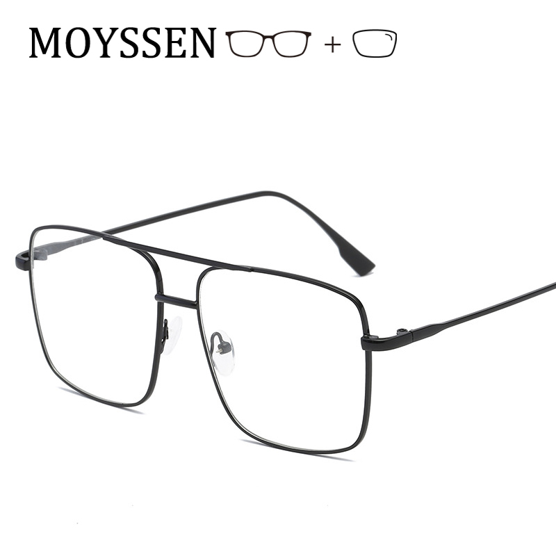 Men Fashion Super Large Metal Alloy Square Frame Eyeglasses Women Vintage Decorative Oversized Optical Myopia <font><b>Glasses</b></font> -<font><b>1.0</b></font> -1.5 image