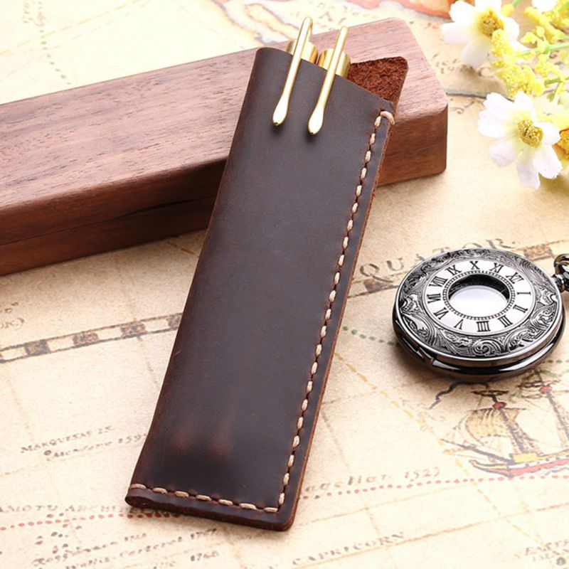 Retro Retro Leather Pen Holder Angled Corner Ballpoint Pen Protective Sleeve Cover Straight Stiched Handmade Fountain Pouch For
