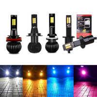 2pcs COB LED Fog Lights Dual Color Flash Automobile 9005 9006 H1 H3 H7 H8 H11 H27 880 881 Tuning Car Universal Ice blue Bulbs