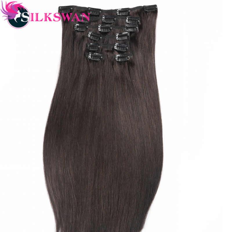 Silkswan Hair Brazilian Medium Ratio Remy Straight Hair Clip In Human Hair Extension Natural Color 8 pcs/Set Full Head Sets 100g