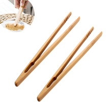 Bamboo Teaware Tea Clips Wood Toast Tong Wooden Toaster Bagel Bacon Squeezer Sugar Ice Tea Tongs 18CM