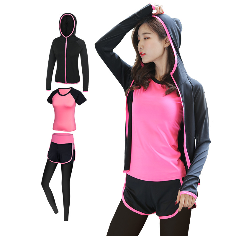 Yoga Clothes Women's Running Thinner Pants 2019 Spring New Style Sports Three-piece Set-Piece Set Running Fitness Suit