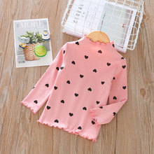 цены Casual Children Clothes For Girls T-shirt Color Solid Kids Tops Spring Long Sleeve Girls t shirt Cotton O-neck Flower Lace