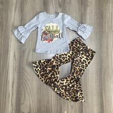 Herbst/Winter outfit kleidung grau herbst bedeutet amerikanischen fußball leopard milch seide hosen rüschen kinder kleidung rüschen baumwolle