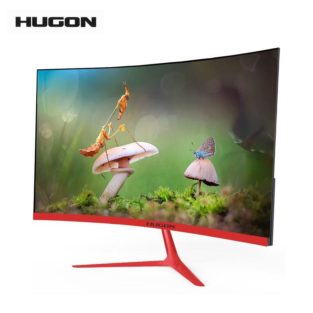 "HUGON Brand New 23.8 ""LED/LCD 1920 × 1080p zakrzywiony ekran Monitor PC 75Hz HD Gaming 24/27 Cal komputer VGA/interfejs HDMI"