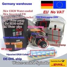 3KW Raffreddato ad Acqua Motore Mandrino ER20 & 3kw Inverter VFD 220V e 100 millimetri morsetto e 75W pompa acqua e tubi con 1set ER20 collet CNC Kit