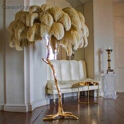 Luxo moderno avestruz pena lâmpada de assoalho cobre bronze ouro nordic lâmpada pé para sala estar villa tripot iluminação decorativa
