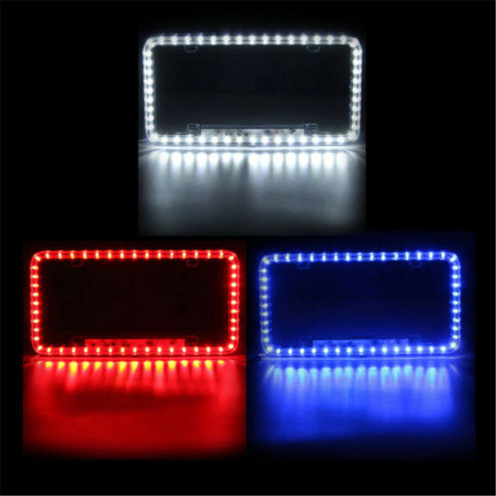 Image 2 - High Light 12V LED Universal White 54 Light Car Front Rear Number License Plate Frame Cover-in License Plate from Automobiles & Motorcycles