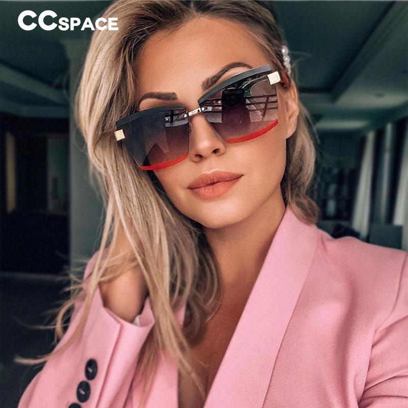 47391 Rimless Luxury Sunglasses Square Men Women Fashion Shades UV400 Vintage Glasses