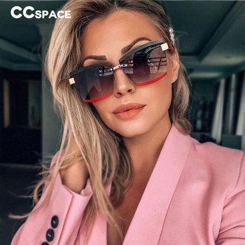 47391 Rimless luksusowe okulary przeciwsłoneczne kwadratowe mężczyźni kobiety moda odcienie UV400 okulary Vintage tanie i dobre opinie CCspace CN (pochodzenie) WOMEN Z żywicy Dla osób dorosłych NONE 48mm 63mm