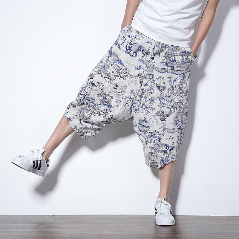 2019 Summer New Style Cotton Linen Casual Pants Men's Japanese-style Fashion Printed Loose-Fit Skinny Harem Pants Drawstring Cap