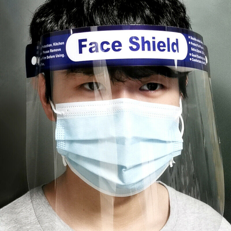 Transparent Full Face Shield Mask Clear Flip Up Visor Oil Fume Protection Safety Work Unisex Women Men Protective Face Mask