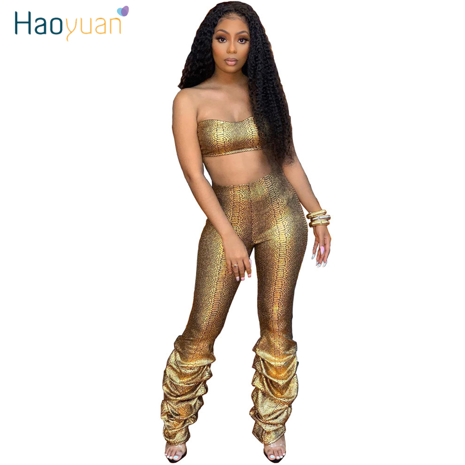 HAOYUAN Sexy Gold Snake Print Two Piece Set Women Tube Crop Top Ruched Pants Matching Suit Festival Clothing Party Club Outfits