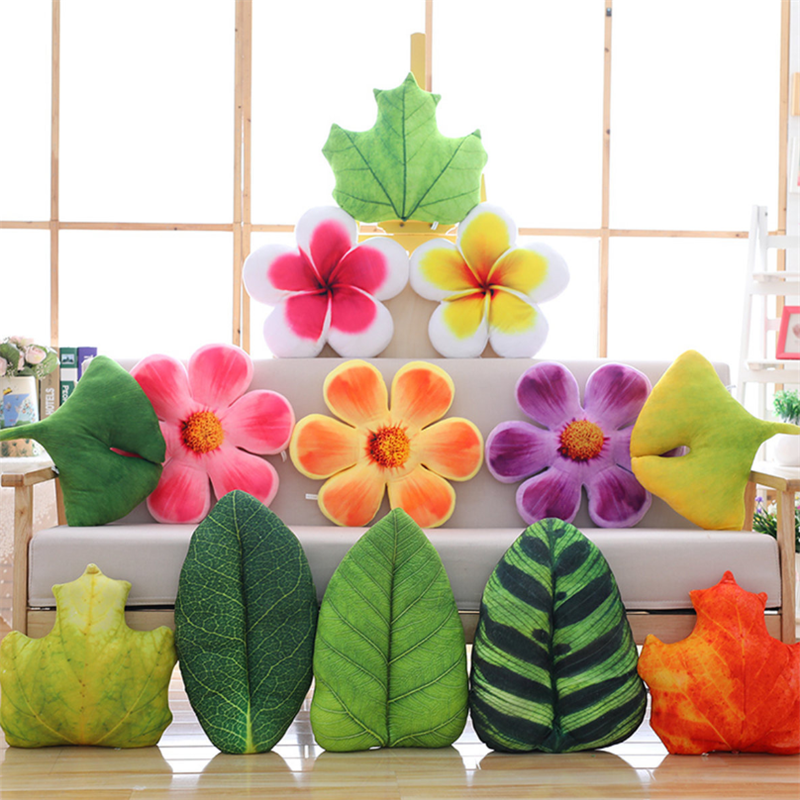 Simulation Leaves And Flowers Plush Pillow Stuffed Dolls Home Bedroom Decoration Christmas Birthday Gifts