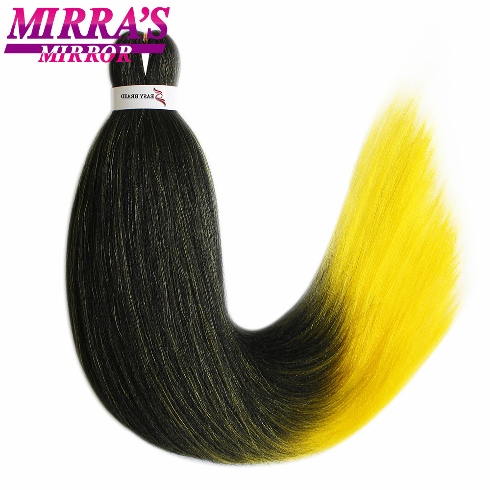 Mirra's Mirror Synthetic Ombre Braiding Hair Pre-Stretched Straight Yaki Hair Extensions Crochet Easy Jumbo Braid Hair Green Red