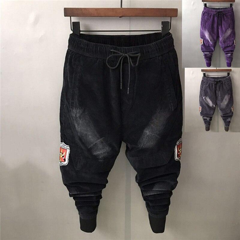 Autumn Winter Men Thick Pencil Pants Corduroy Long Slim Harem Pants Wioth Pockets Elastic Waist Slim Trousers Casual 45-90KG