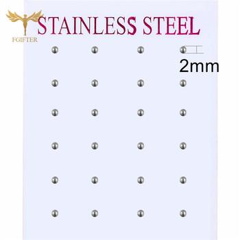 2-8mm srebrna kulka stalowa kolczyki dla kobiet mężczyzn biżuteria dziewczęca akcesoria kolczyki ze stali nierdzewnej zestaw biżuterii hurtowej bizuteria ze stali chirurgicznej kolczyki tanie i dobre opinie Fgifter STAINLESS STEEL CN (pochodzenie) Kolczyki-sztyfty Piłka Unisex Klasyczny Metal moda SSES-Ball3mm-12 Wypychane Silver Steel Earrings