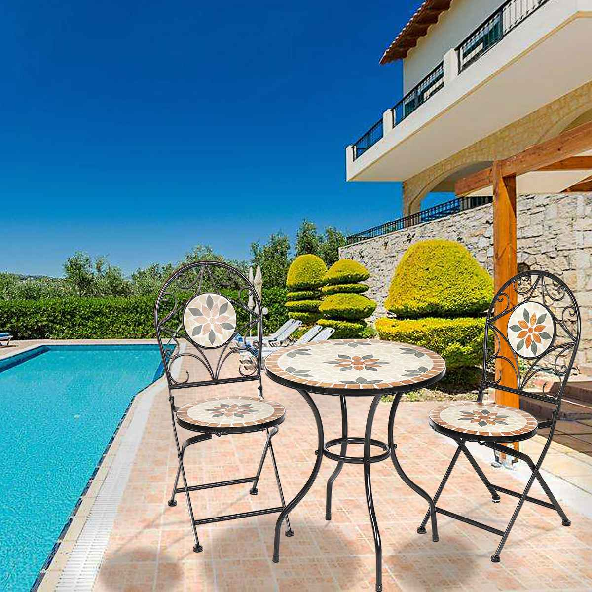 NEW 3Pcs/Set Garden Furniture Dining Set Iron Floral Pattern Design Bistro Patio Set Round Table and 2XFoldable Chairs