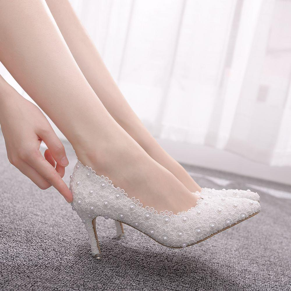 Crystal Queen Pumps Women Shoes High Heels Women Wedding Shoes Lace White Flowers Pearl Bridal Shoes Low Heel BIG Size 43
